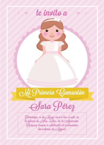 Pack 12 Invitaciones Primera Comunión Niña + sobre modelo 1010