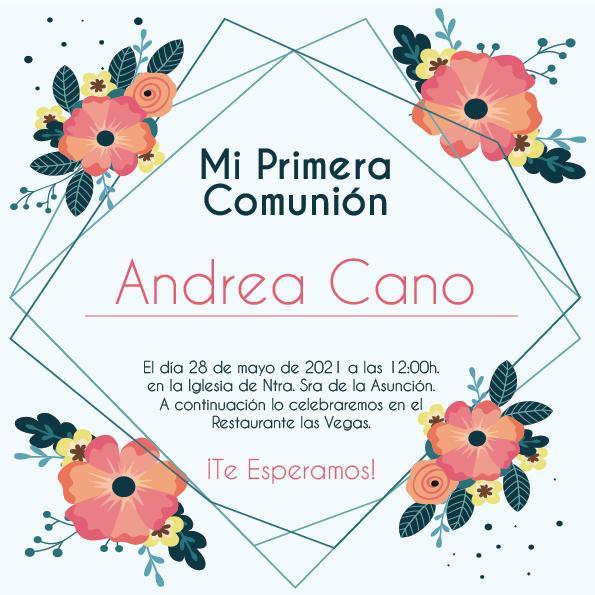 Pack 12 Invitaciones Primera Comunión Niña + sobre modelo 1012