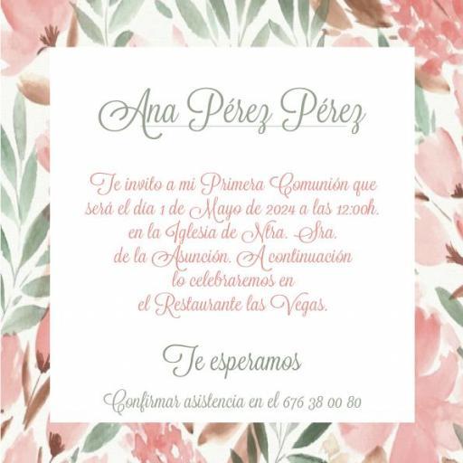 Pack 12 Invitaciones Primera Comunión Niña + sobre modelo 1018