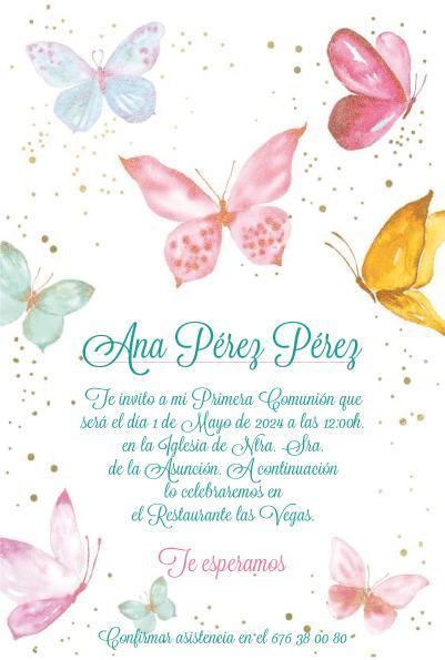 Pack 12 Invitaciones Primera Comunión Niña + sobre modelo 1025