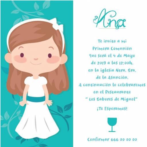 Pack 12 Invitaciones Primera Comunión Niña + sobre modelo 1003
