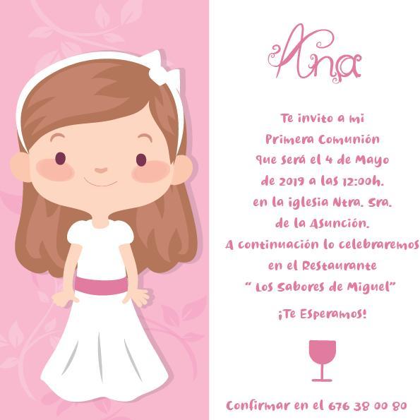 Pack 12 Invitaciones Primera Comunión Niña + sobre modelo 1004