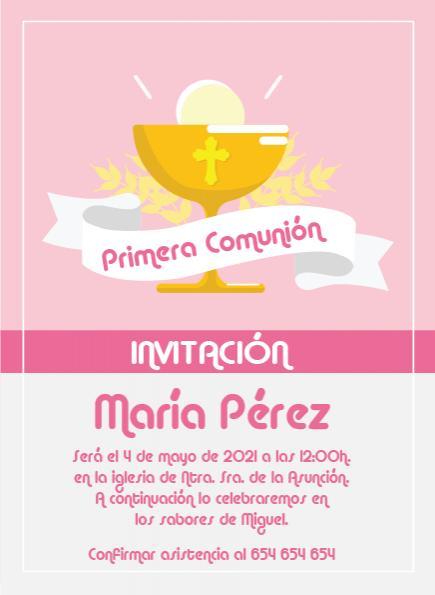 Pack 12 Invitaciones Primera Comunión Niña + sobre modelo 1009