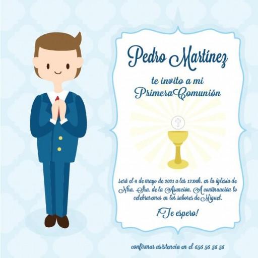Pack 12 Invitaciones Primera Comunión Niño + sobre modelo 1001