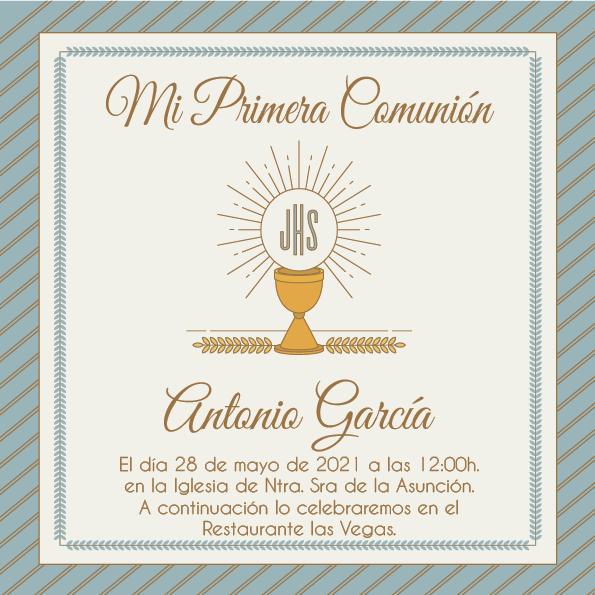 Pack 12 Invitaciones Primera Comunión Niño + sobre modelo 1010