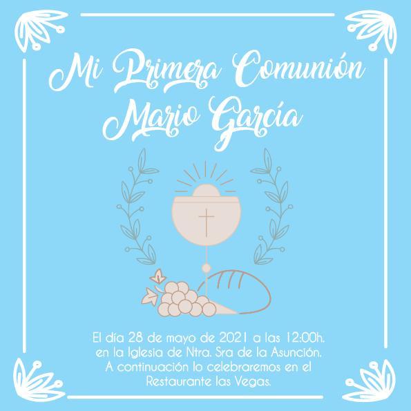 Pack 12 Invitaciones Primera Comunión Niño + sobre modelo 1011