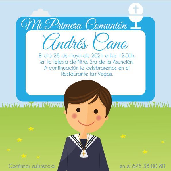 Pack 12 Invitaciones Primera Comunión Niño + sobre modelo 1013