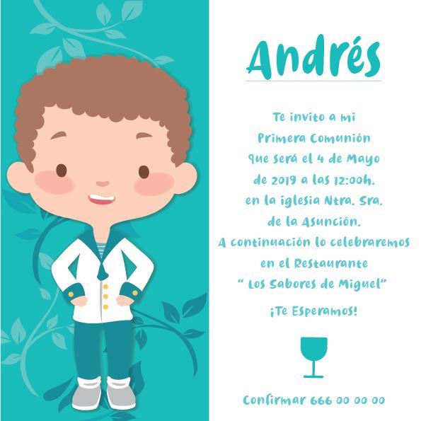 Pack 12 Invitaciones Primera Comunión Niño + sobre modelo 1003