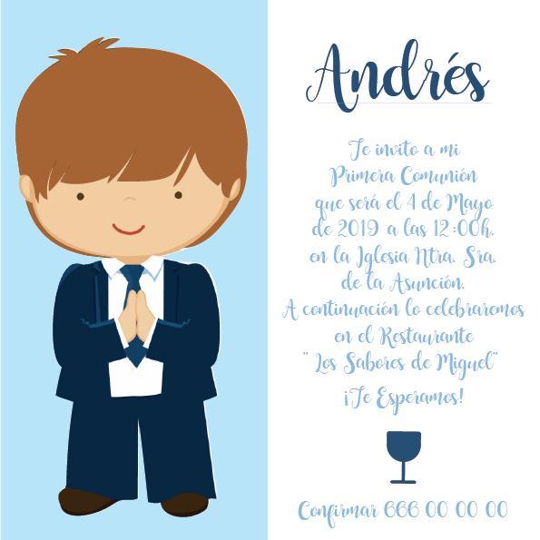 Pack 12 Invitaciones Primera Comunión Niño + sobre modelo 1005