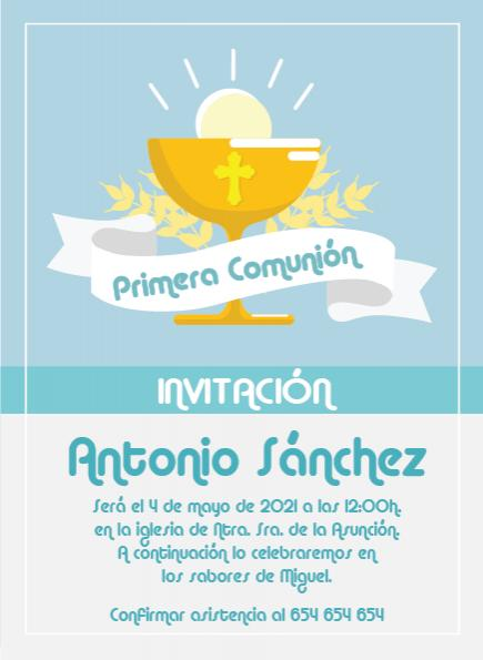 Pack 12 Invitaciones Primera Comunión Niño + sobre modelo 1006