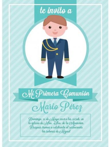 Pack 12 Invitaciones Primera Comunión Niño + sobre modelo 1007