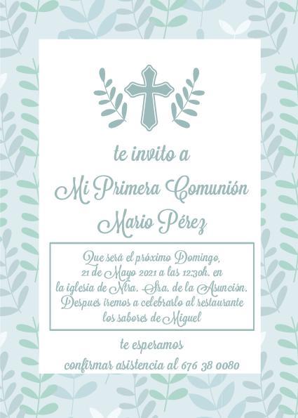 Pack 12 Invitaciones Primera Comunión Niño + sobre modelo 1008