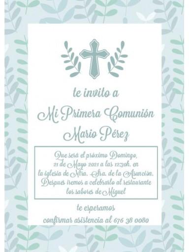 Pack 12 Invitaciones Primera Comunión Niño + sobre modelo 1008 [0]
