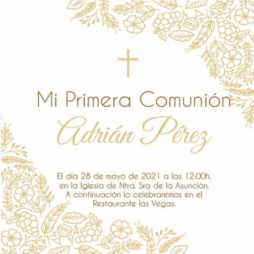 Pack 12 Invitaciones Primera Comunión Niño + sobre modelo 1009