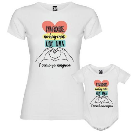 Camiseta Madre + Body Madre No Hay Más que Una