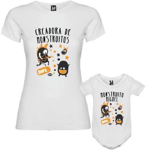 """Camiseta Madre + Body Personalizado """"Creadora de Monstruitos"""""""