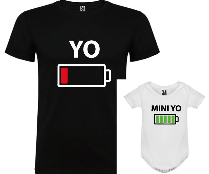 1 camiseta con body Yo y Mini yo (negro)