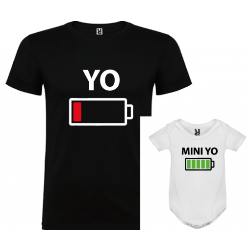 1 camiseta con body Yo y Mini yo (negro)
