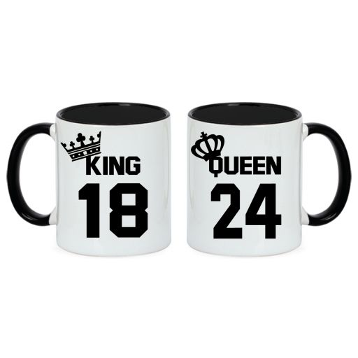 2 Tazas King y Queen bicolor negro