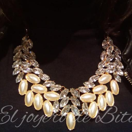 Collar pearl&crystal