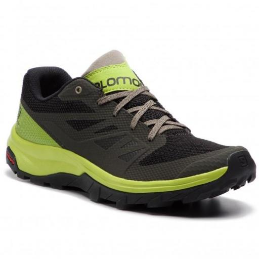 Zapatilla trekking SALOMON Outline. 406189. Beluga/lime green.