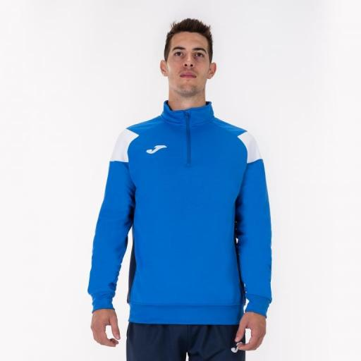 Sudadera Media Cremallera JOMA CREW III. Royal-white. 101272.702