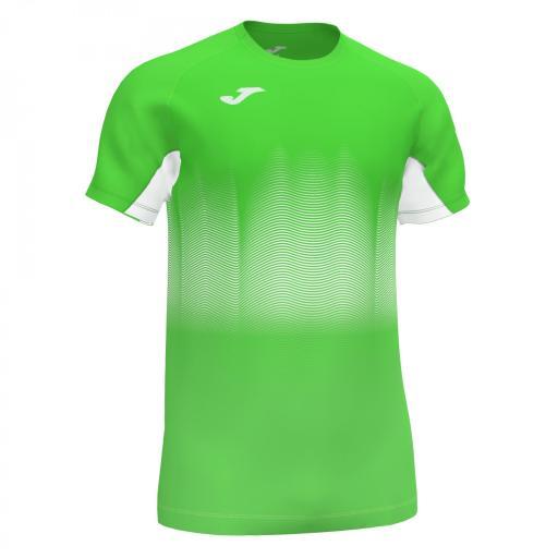 Camiseta Running Hombre Joma Elite VII. 101519.020. Flúor Green-white.
