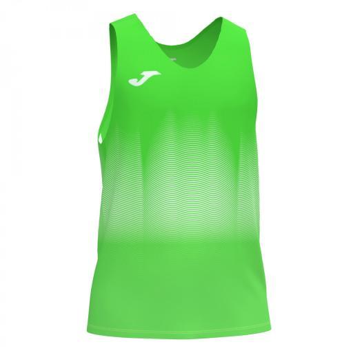Camiseta Running Hombre Joma Elite VII. Flúor Green. 101522.020
