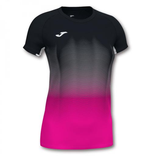 Camiseta Running Joma Elite VII. Black- flúor pink-white. 901020.118.
