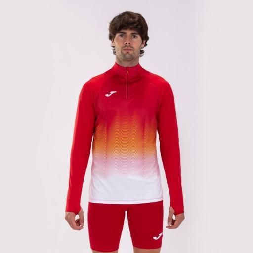 Sudadera Running Hombre Joma Elite VII. Red-white. 101541.602