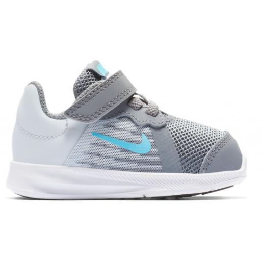 Zapatilla deportiva niños Nike Downshifter 8 (TDV). Gris/azul. 922856 012