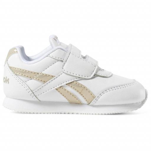 Zapatilla moda bebé Reebok Royal CL Jog 2 KC. DV6949. White/gold [1]