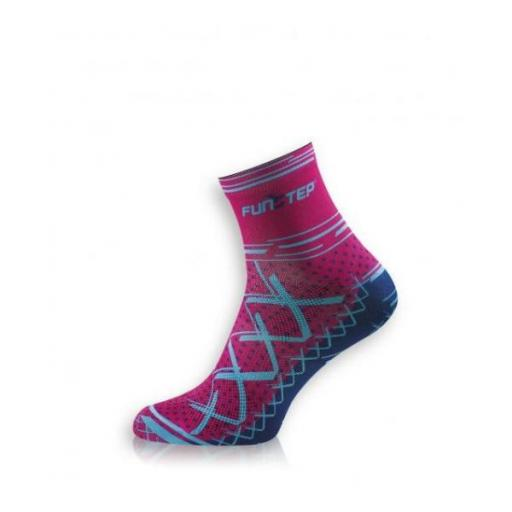 Funstep serie Cycling. Calcetines Soft transpirable Short. Rosa/azul.