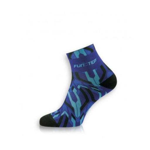 Funstep Calcetines Ciclismo short. Azul claro/azul oscuro.