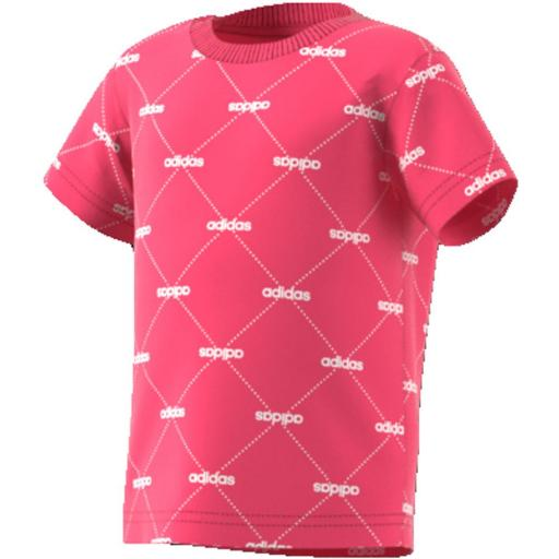 Camiseta Bebé Adidas Linear Graphic. E7946 Real Pink/white.