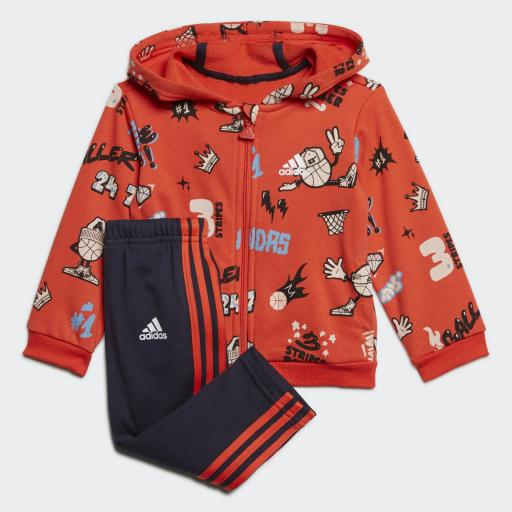Adidas French Terry Grap. Chándal Bebé Niño. GE0010. Red/Navy.