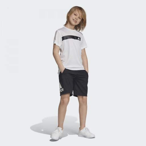 Pantalón corto niño Adidas Training EQ. DV2918. Black/white. [3]
