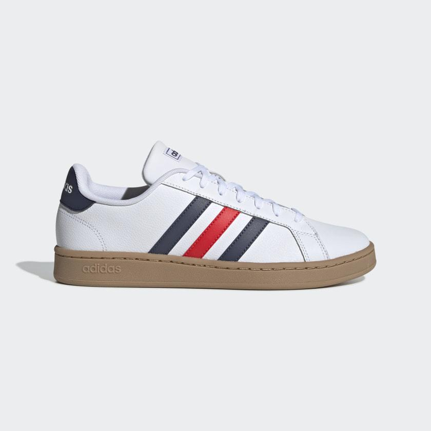 Zapatilla Casual Adidas Grand Court. EE7888. White/blue/red.
