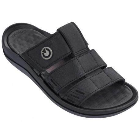 SANTORINI III sandalias planas de hombre negro [0]