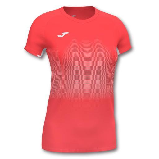 Camiseta Running Mujer Joma Elite VII. 901020.040 Flúor Coral-white.