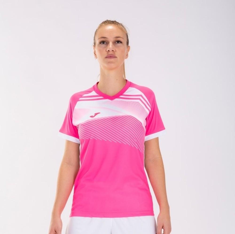 Camiseta Deportiva Mujer Joma Supernova II. 901066.030. Flúor pink-white.