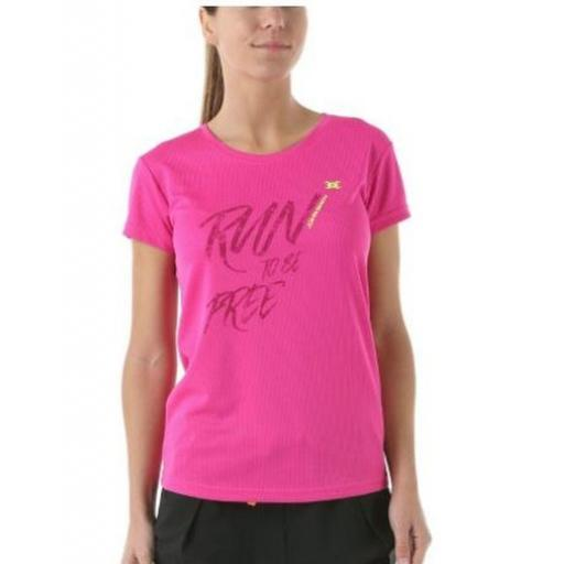 Camiseta Técnica Running Mujer John Smith Procida. Rosa Flúor.
