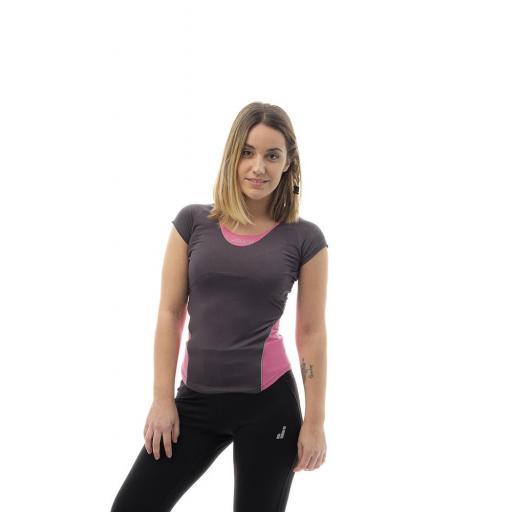Camiseta Técnica Running Joluvi Meta Pro W. Gris-rosa. 232718