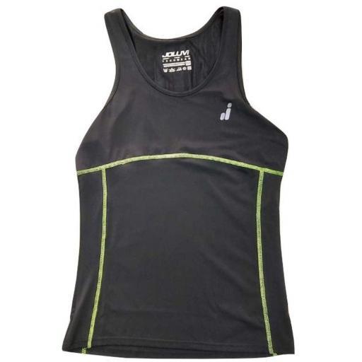 Camiseta Deportiva Tirantes Joluvi Starlite W. Negro-amarillo. 233767