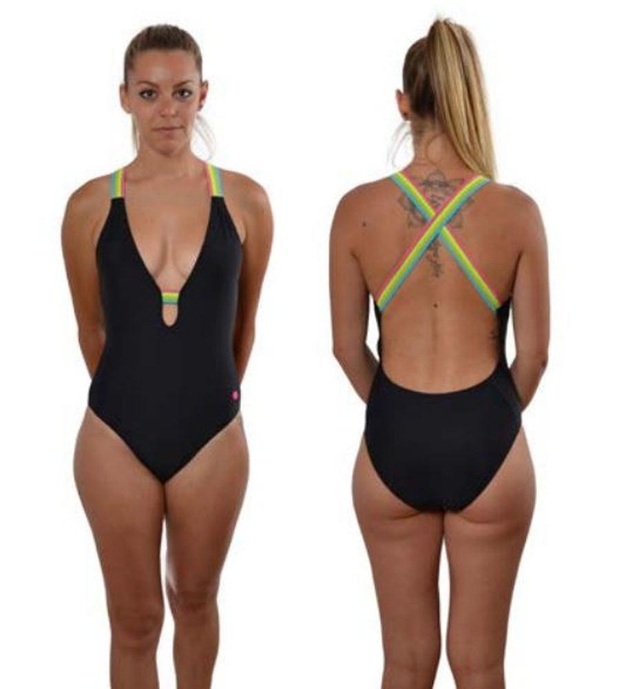Bañador Mujer Ras Playa Iris Negro. T204890