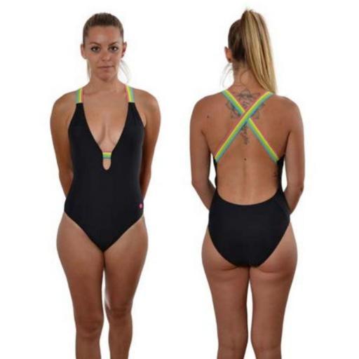 Bañador Mujer Ras Playa Iris Negro. T204890 [0]