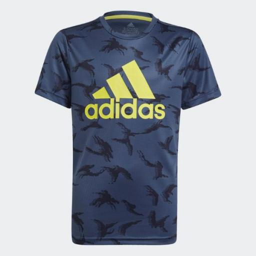 Camiseta ADIDAS Designed To Move Camouflage. GN1487 Blue/flúor.