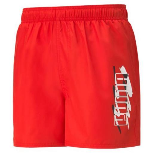 PUMA ESS+ Summer shorts. 586744 11. High risk red. Bañador Hombre.