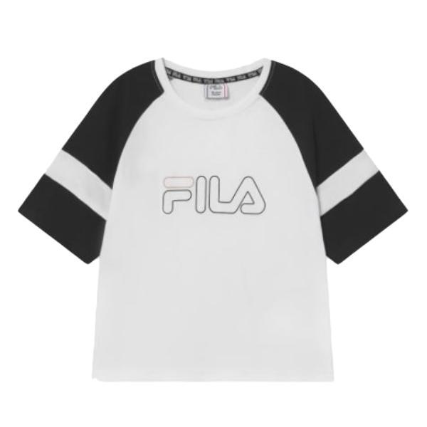 Fila JULITA CROPPED - Camiseta estampada. White/black. 960692