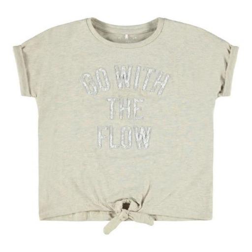 Name It Camiseta Estampada Niña. NKFFAMKE SS TOP. Peyote Melange.
